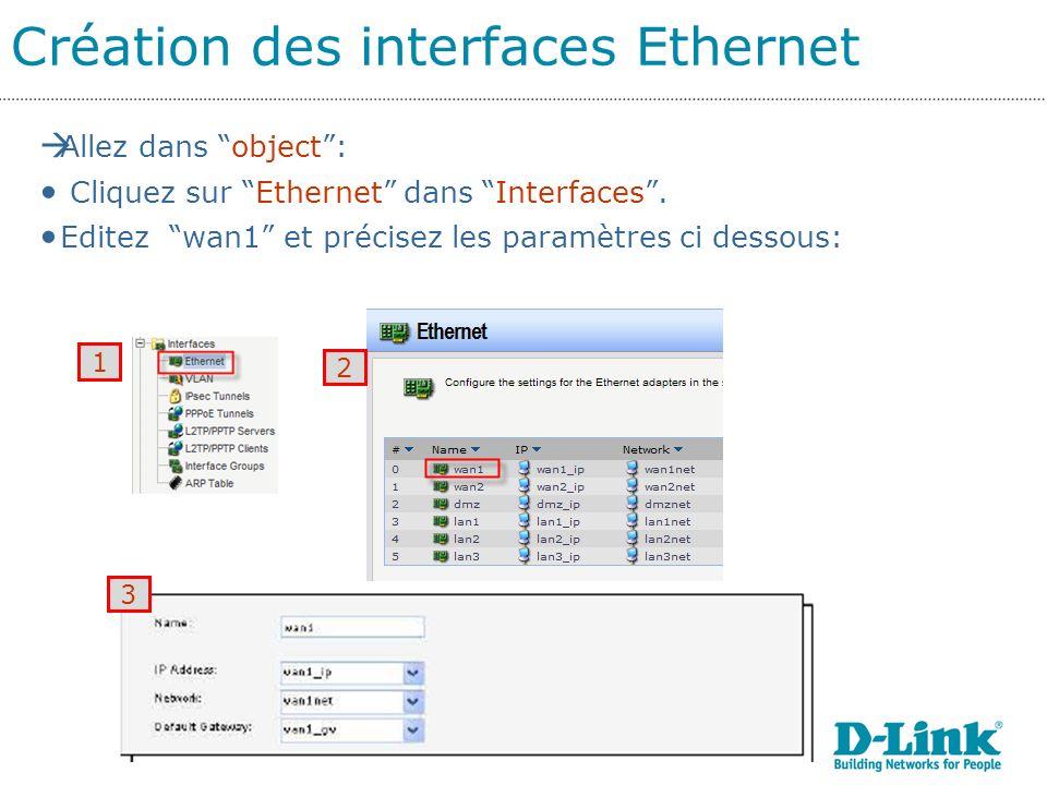 Création des interfaces Ethernet 1 2 Allez dans object: Cliquez sur Ethernet dans Interfaces.