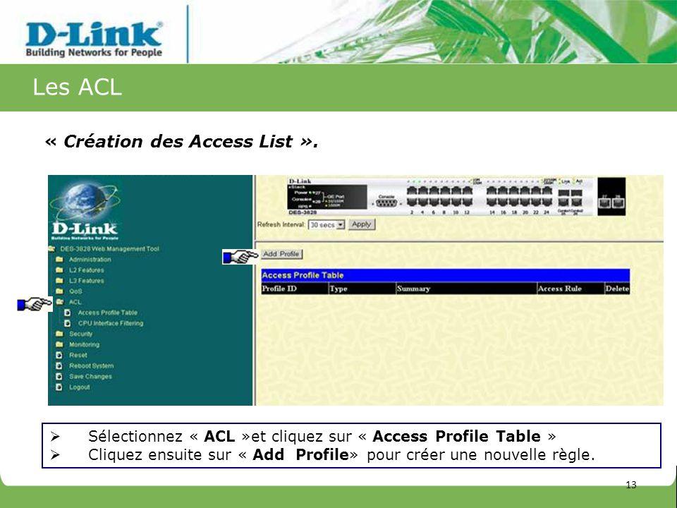 Les ACL « Création des Access List ». Sélectionnez « ACL »et cliquez sur « Access Profile Table » Cliquez ensuite sur « Add Profile» pour créer une no