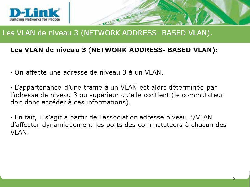 Les VLAN de niveau 3 (NETWORK ADDRESS- BASED VLAN). Les VLAN de niveau 3 (NETWORK ADDRESS- BASED VLAN): On affecte une adresse de niveau 3 à un VLAN.