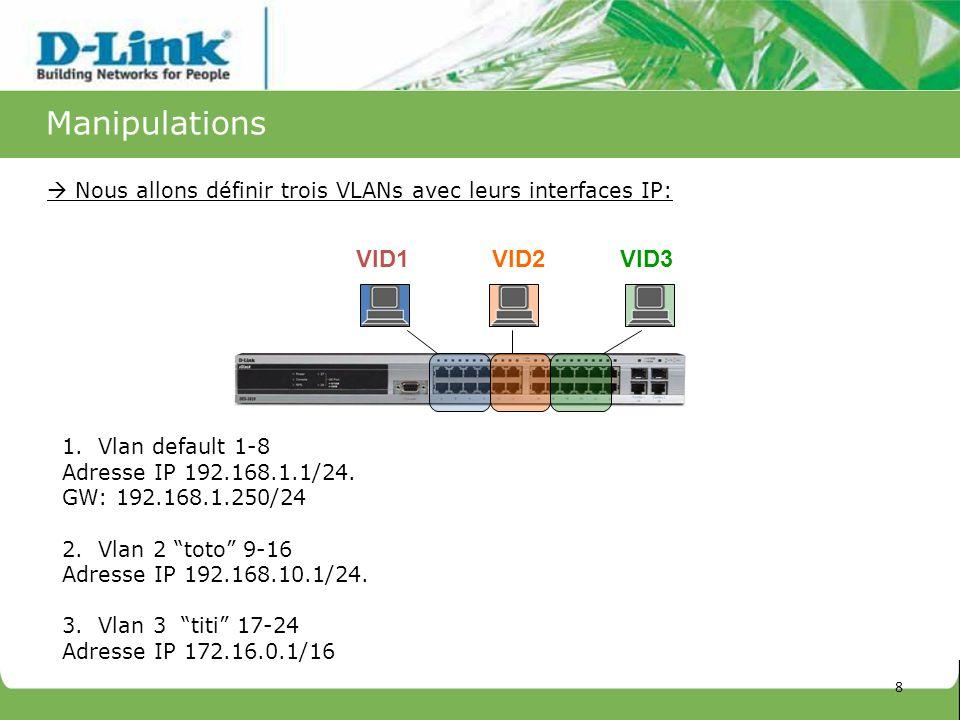 Manipulations Nous allons définir trois VLANs avec leurs interfaces IP: VID1VID2VID3 1.Vlan default 1-8 Adresse IP 192.168.1.1/24. GW: 192.168.1.250/2