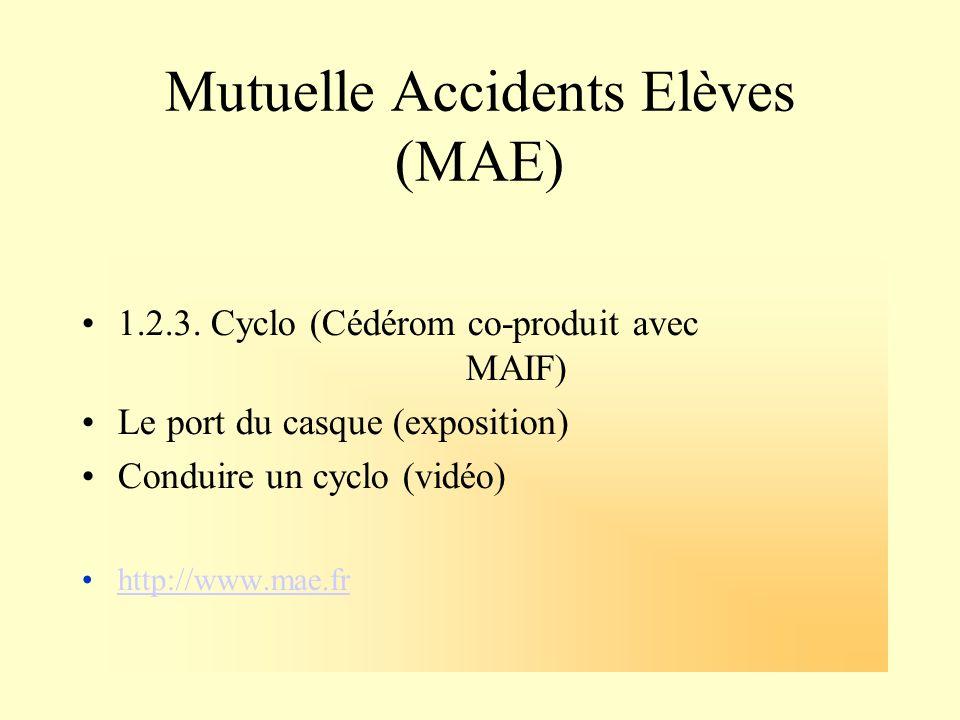 Mutuelle Accidents Elèves (MAE) 1.2.3. Cyclo (Cédérom co-produit avec MAIF) Le port du casque (exposition) Conduire un cyclo (vidéo) http://www.mae.fr