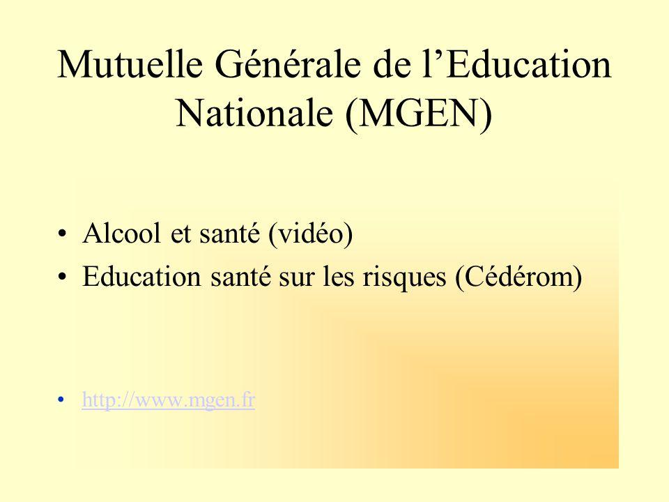 Mutuelle Générale de lEducation Nationale (MGEN) Alcool et santé (vidéo) Education santé sur les risques (Cédérom) http://www.mgen.fr