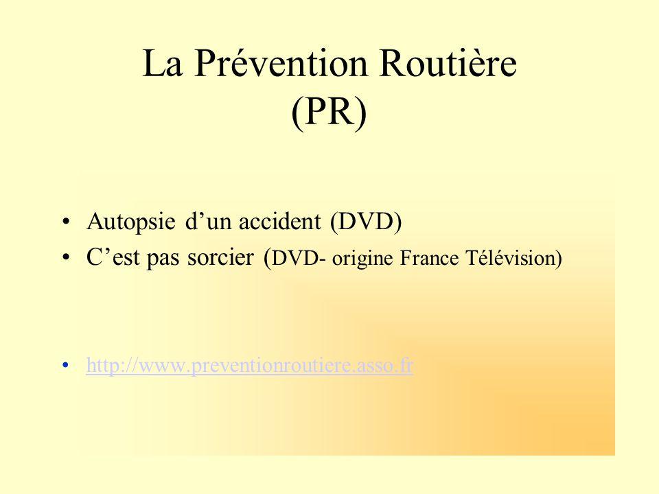 La Prévention Routière (PR) Autopsie dun accident (DVD) Cest pas sorcier ( DVD- origine France Télévision) http://www.preventionroutiere.asso.fr