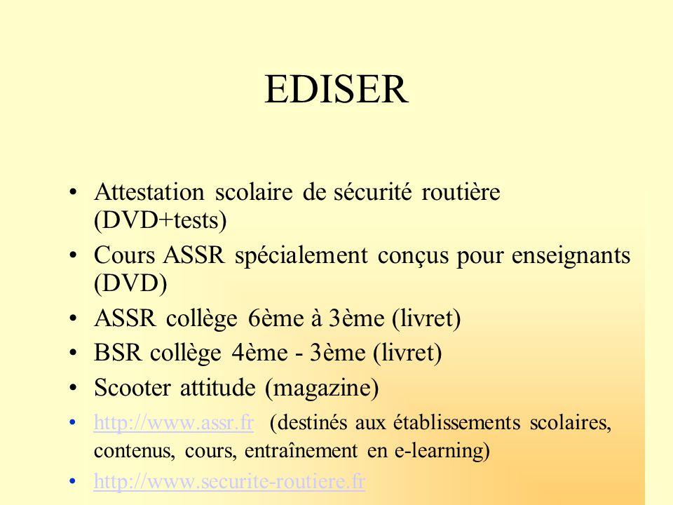 EDISER Attestation scolaire de sécurité routière (DVD+tests) Cours ASSR spécialement conçus pour enseignants (DVD) ASSR collège 6ème à 3ème (livret) B