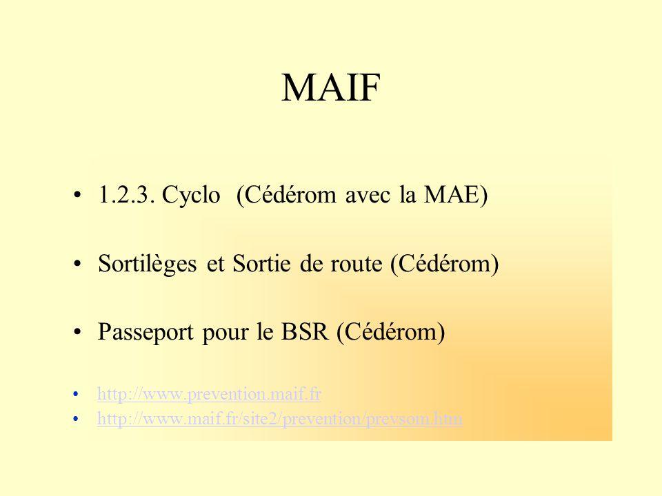 MAIF 1.2.3. Cyclo (Cédérom avec la MAE) Sortilèges et Sortie de route (Cédérom) Passeport pour le BSR (Cédérom) http://www.prevention.maif.fr http://w