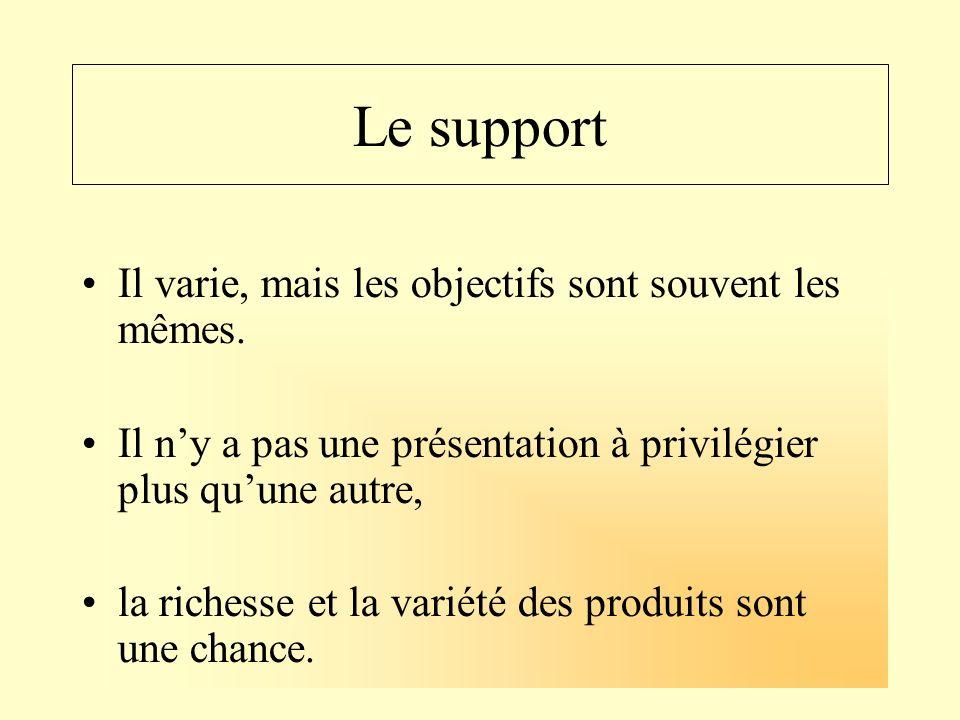 Le support Il varie, mais les objectifs sont souvent les mêmes. Il ny a pas une présentation à privilégier plus quune autre, la richesse et la variété