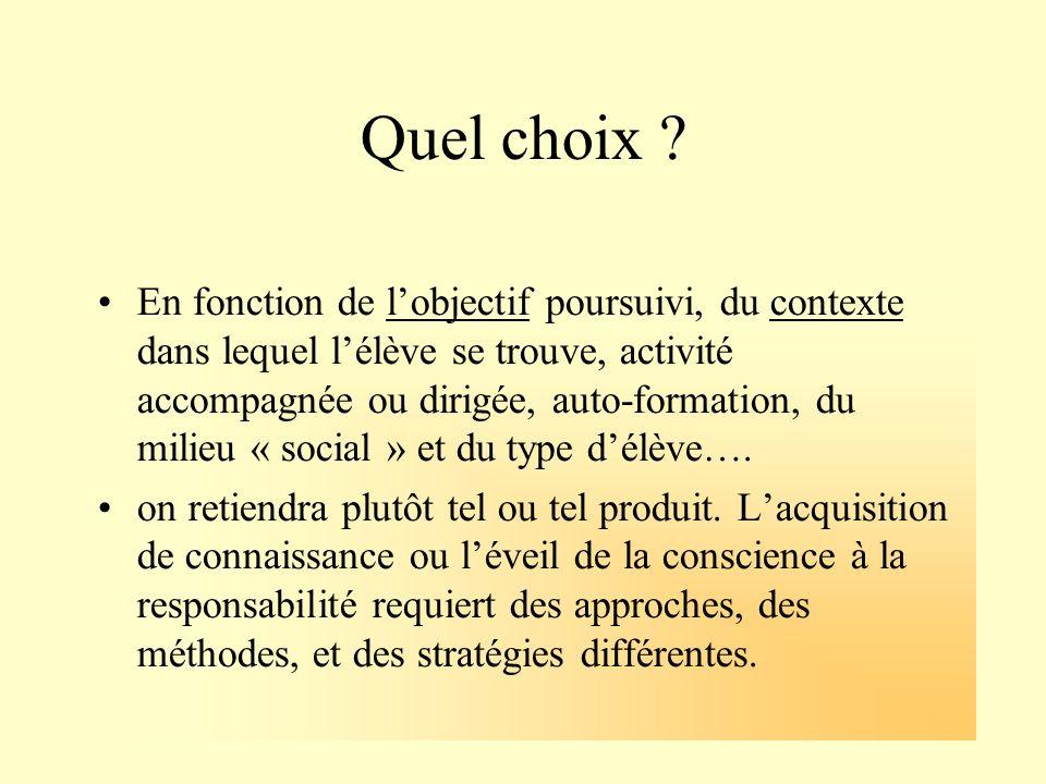Quel choix ? En fonction de lobjectif poursuivi, du contexte dans lequel lélève se trouve, activité accompagnée ou dirigée, auto-formation, du milieu