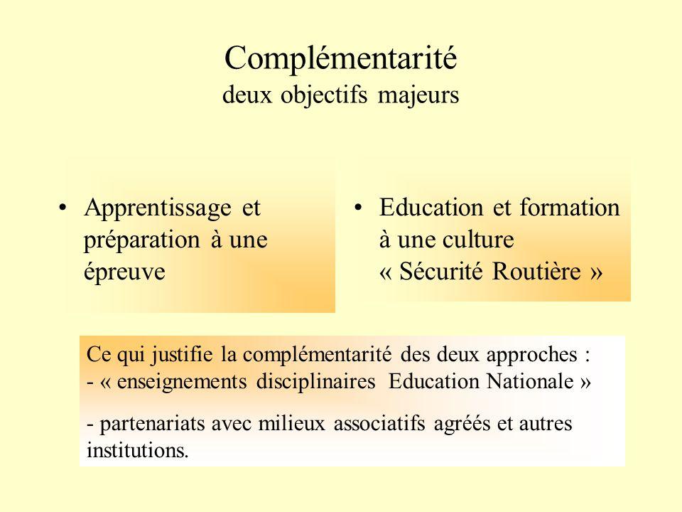 Complémentarité deux objectifs majeurs Apprentissage et préparation à une épreuve Education et formation à une culture « Sécurité Routière » Ce qui ju