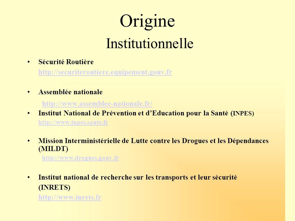 Origine Institutionnelle Sécurité Routière http://securiteroutiere.equipement.gouv.fr Assemblée nationale http://www.assemblee-nationale.fr/ Institut
