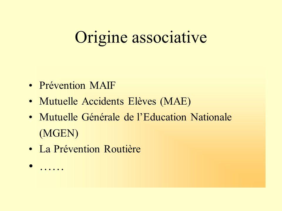 Origine associative Prévention MAIF Mutuelle Accidents Elèves (MAE) Mutuelle Générale de lEducation Nationale (MGEN) La Prévention Routière ……