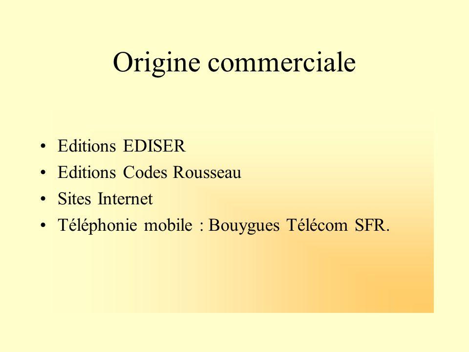 Origine commerciale Editions EDISER Editions Codes Rousseau Sites Internet Téléphonie mobile : Bouygues Télécom SFR.