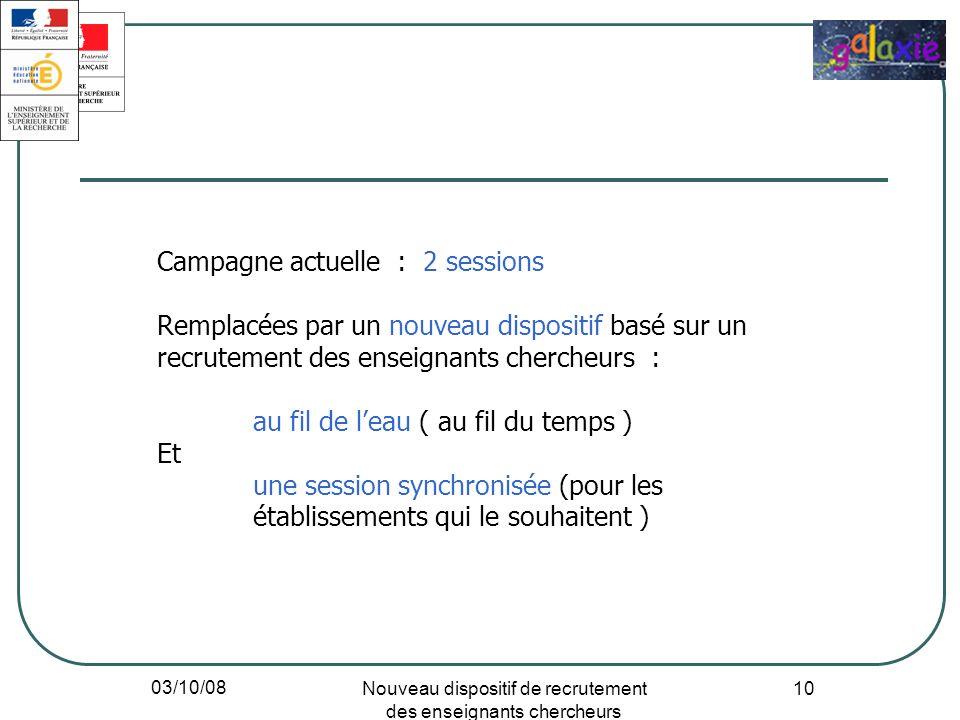 03/10/08 Nouveau dispositif de recrutement des enseignants chercheurs 10 Campagne actuelle : 2 sessions Remplacées par un nouveau dispositif basé sur