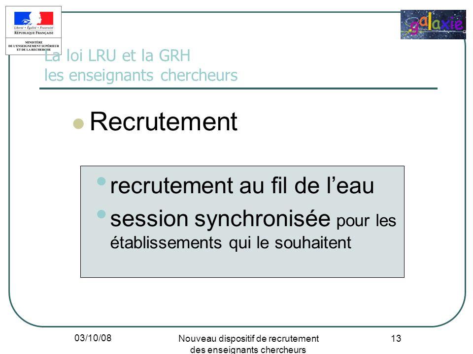 03/10/08 Nouveau dispositif de recrutement des enseignants chercheurs 13 La loi LRU et la GRH les enseignants chercheurs Recrutement recrutement au fi