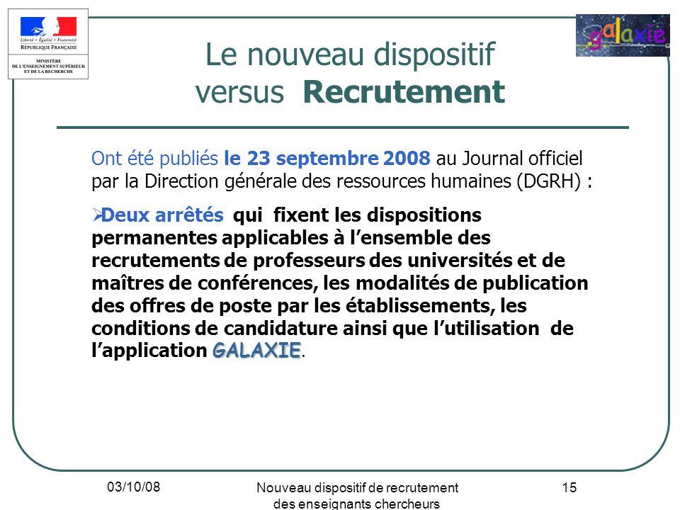 03/10/08 Nouveau dispositif de recrutement des enseignants chercheurs 15 Ont été publiés le 23 septembre 2008 au Journal officiel par la Direction gén