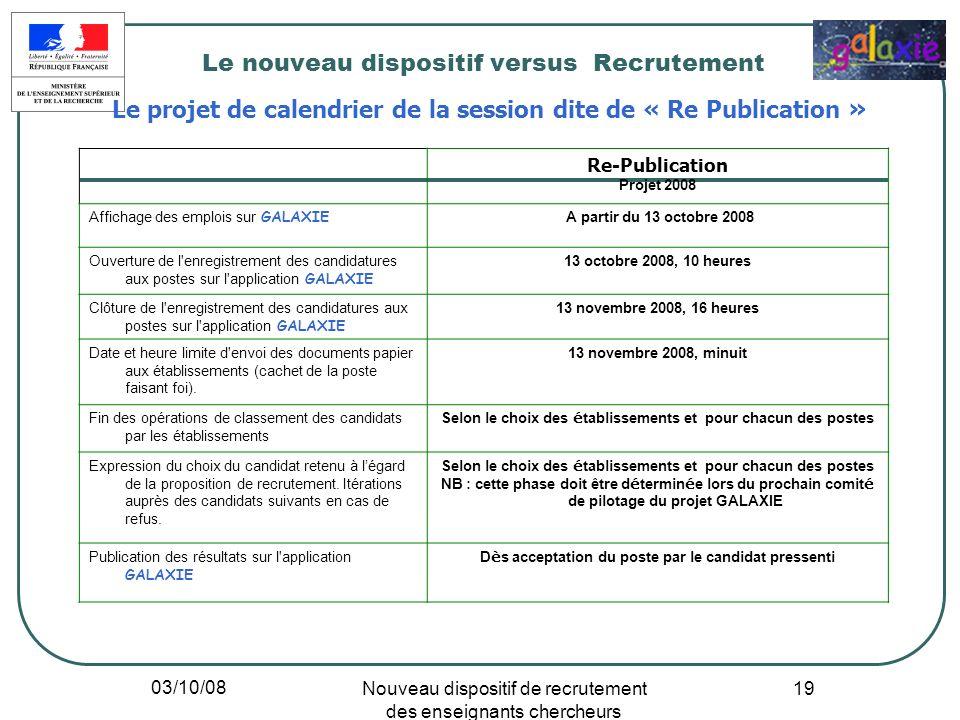 03/10/08 Nouveau dispositif de recrutement des enseignants chercheurs 19 Le nouveau dispositif versus Recrutement Le projet de calendrier de la sessio