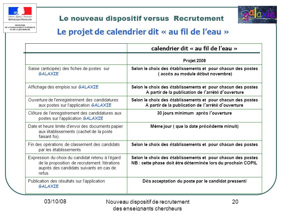 03/10/08 Nouveau dispositif de recrutement des enseignants chercheurs 20 Le nouveau dispositif versus Recrutement Le projet de calendrier dit « au fil