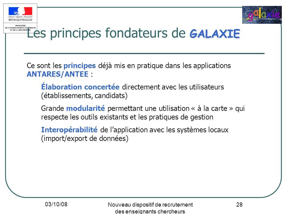 03/10/08 Nouveau dispositif de recrutement des enseignants chercheurs 28 GALAXIE Les principes fondateurs de GALAXIE Ce sont les principes déjà mis en