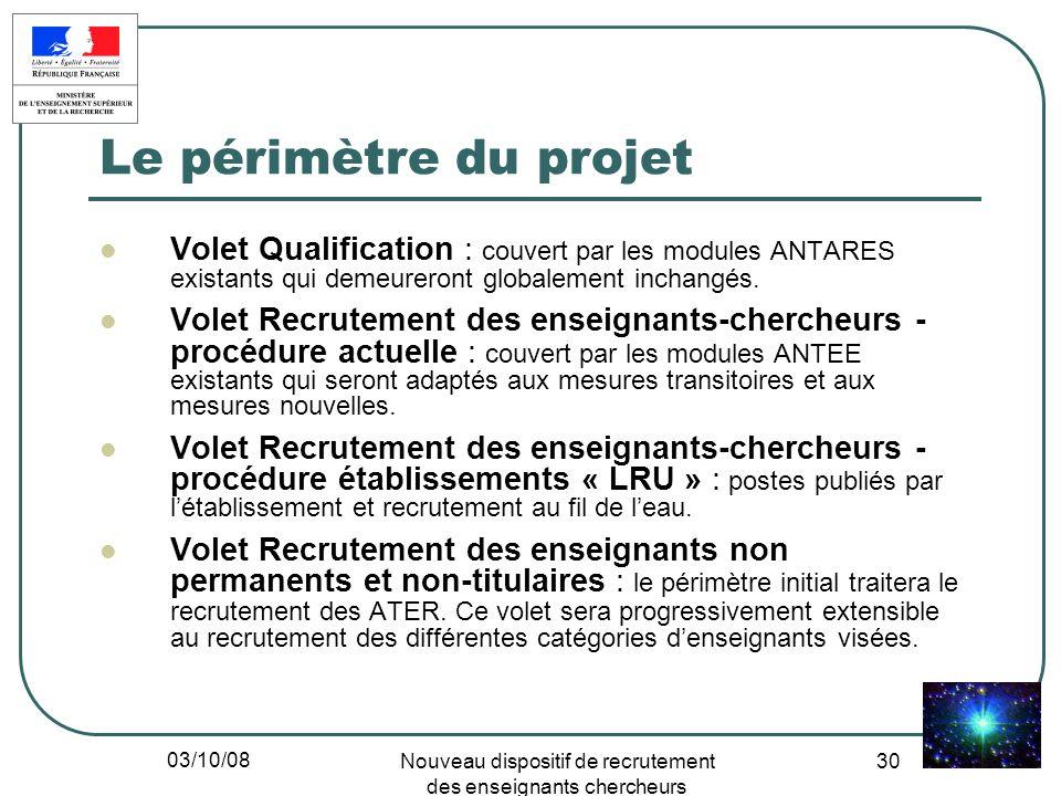 03/10/08 Nouveau dispositif de recrutement des enseignants chercheurs 30 Le périmètre du projet Volet Qualification : couvert par les modules ANTARES