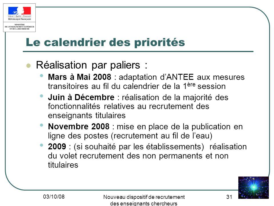 03/10/08 Nouveau dispositif de recrutement des enseignants chercheurs 31 Le calendrier des priorités Réalisation par paliers : Mars à Mai 2008 : adapt