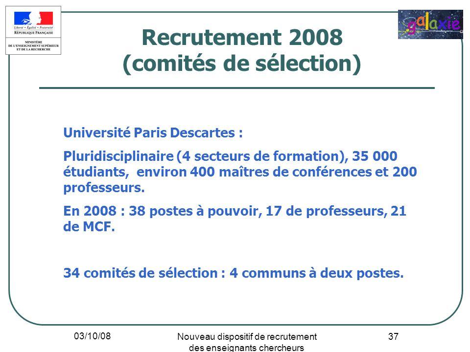 03/10/08 Nouveau dispositif de recrutement des enseignants chercheurs 37 Université Paris Descartes : Pluridisciplinaire (4 secteurs de formation), 35