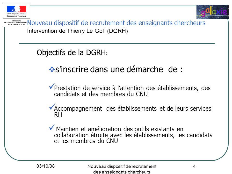 03/10/08 Nouveau dispositif de recrutement des enseignants chercheurs 4 Objectifs de la DGRH : sinscrire dans une démarche de : Prestation de service