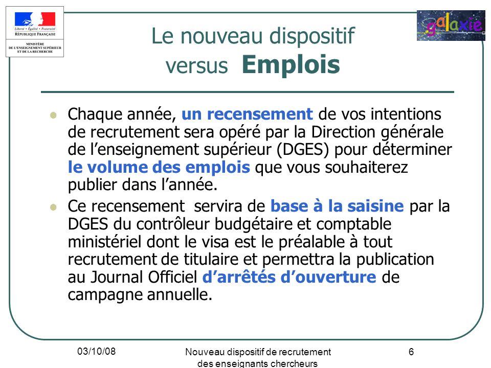 03/10/08 Nouveau dispositif de recrutement des enseignants chercheurs 37 Université Paris Descartes : Pluridisciplinaire (4 secteurs de formation), 35 000 étudiants, environ 400 maîtres de conférences et 200 professeurs.