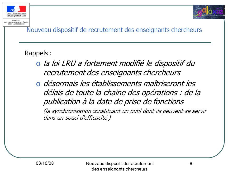03/10/08 Nouveau dispositif de recrutement des enseignants chercheurs 8 Rappels : ola loi LRU a fortement modifié le dispositif du recrutement des ens