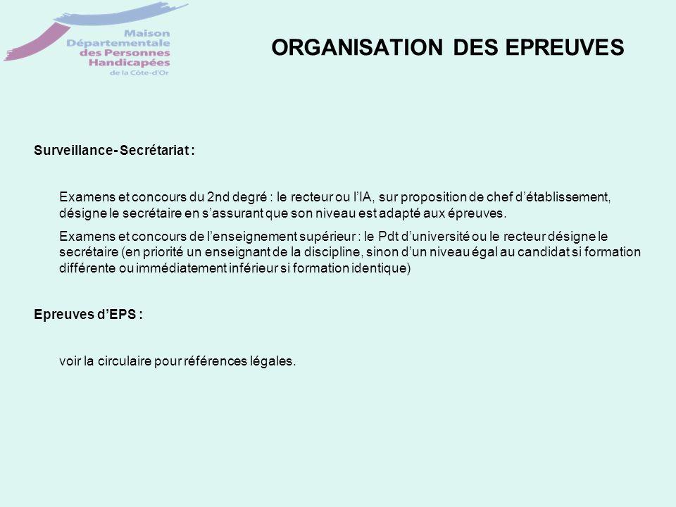 ORGANISATION DES EPREUVES Surveillance- Secrétariat : Examens et concours du 2nd degré : le recteur ou lIA, sur proposition de chef détablissement, dé