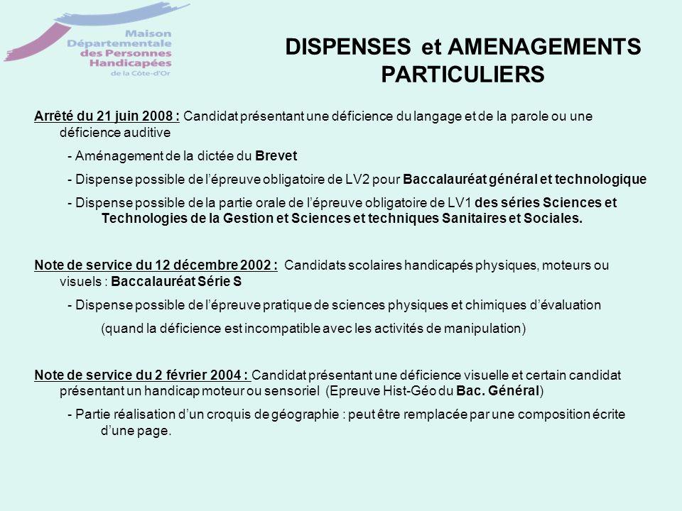 DISPENSES et AMENAGEMENTS PARTICULIERS Arrêté du 21 juin 2008 : Candidat présentant une déficience du langage et de la parole ou une déficience auditi