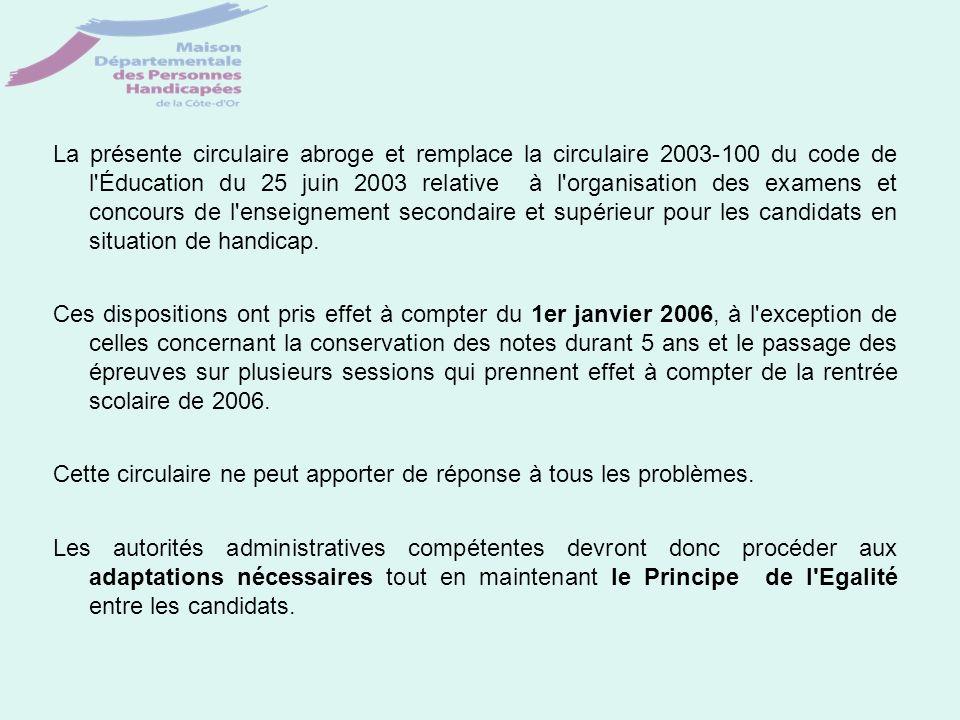 La présente circulaire abroge et remplace la circulaire 2003-100 du code de l'Éducation du 25 juin 2003 relative à l'organisation des examens et conco