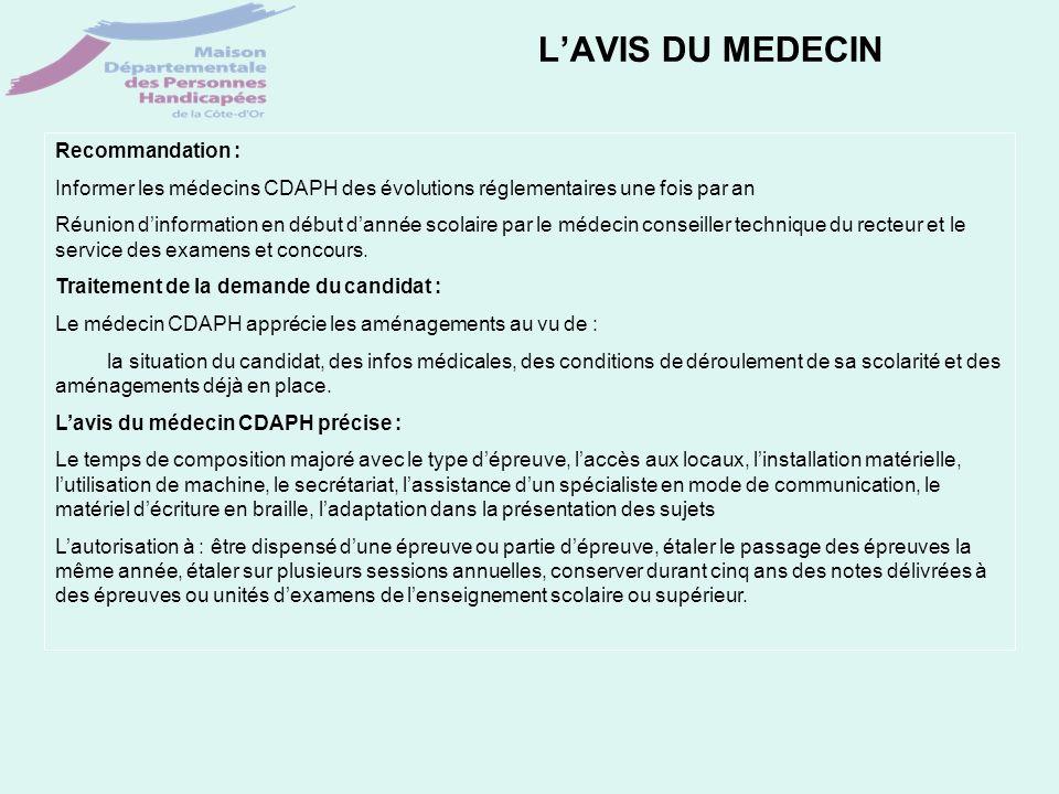 LAVIS DU MEDECIN Recommandation : Informer les médecins CDAPH des évolutions réglementaires une fois par an Réunion dinformation en début dannée scola