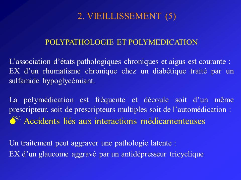 2. VIEILLISSEMENT (5) POLYPATHOLOGIE ET POLYMEDICATION Lassociation détats pathologiques chroniques et aigus est courante : EX dun rhumatisme chroniqu