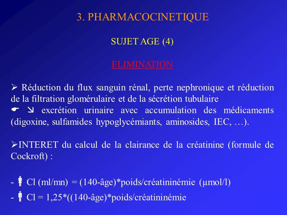 3. PHARMACOCINETIQUE SUJET AGE (4) ELIMINATION Réduction du flux sanguin rénal, perte nephronique et réduction de la filtration glomérulaire et de la
