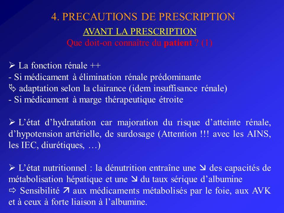 4. PRECAUTIONS DE PRESCRIPTION AVANT LA PRESCRIPTION Que doit-on connaître du patient ? (1) La fonction rénale ++ - Si médicament à élimination rénale