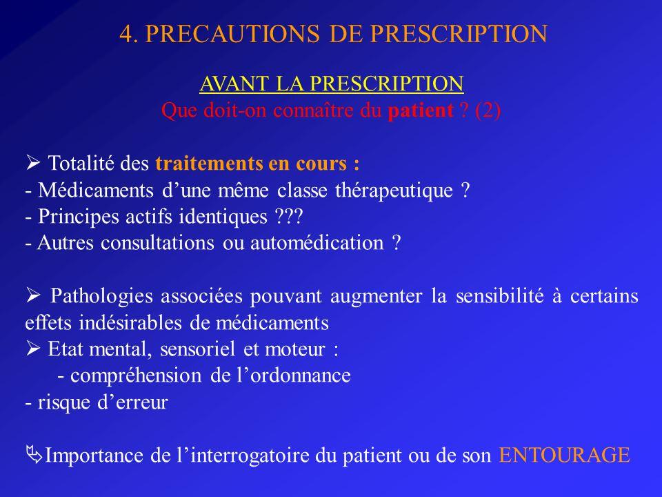 4. PRECAUTIONS DE PRESCRIPTION AVANT LA PRESCRIPTION Que doit-on connaître du patient ? (2) Totalité des traitements en cours : - Médicaments dune mêm