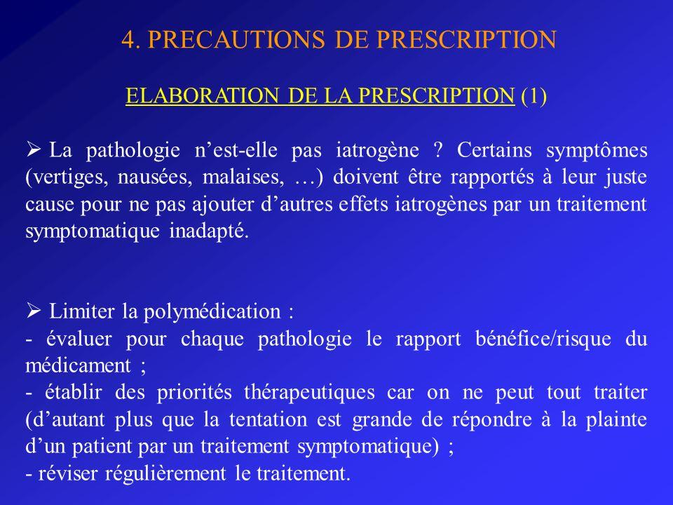 4. PRECAUTIONS DE PRESCRIPTION ELABORATION DE LA PRESCRIPTION (1) La pathologie nest-elle pas iatrogène ? Certains symptômes (vertiges, nausées, malai