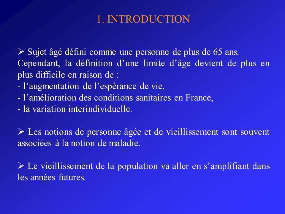1. INTRODUCTION Sujet âgé défini comme une personne de plus de 65 ans. Cependant, la définition dune limite dâge devient de plus en plus difficile en