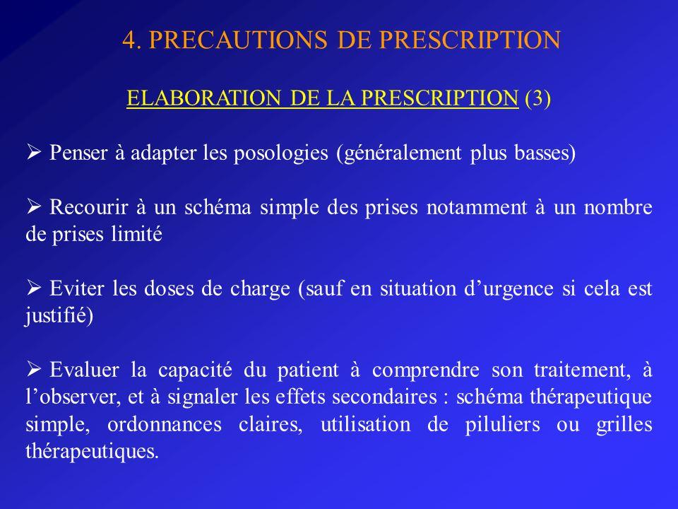 4. PRECAUTIONS DE PRESCRIPTION ELABORATION DE LA PRESCRIPTION (3) Penser à adapter les posologies (généralement plus basses) Recourir à un schéma simp