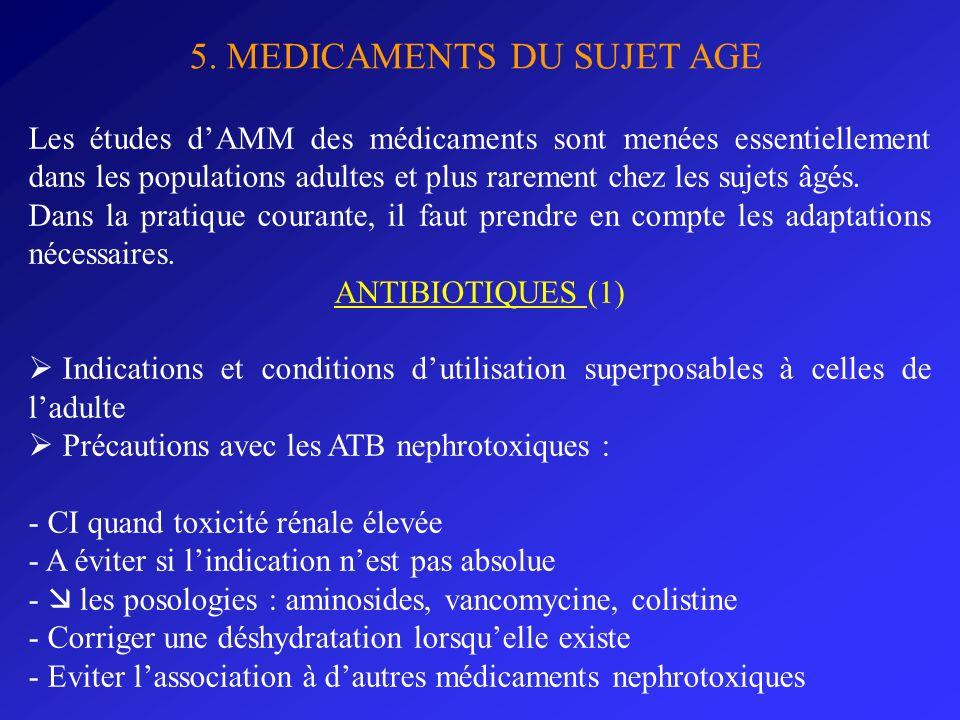 5. MEDICAMENTS DU SUJET AGE Les études dAMM des médicaments sont menées essentiellement dans les populations adultes et plus rarement chez les sujets
