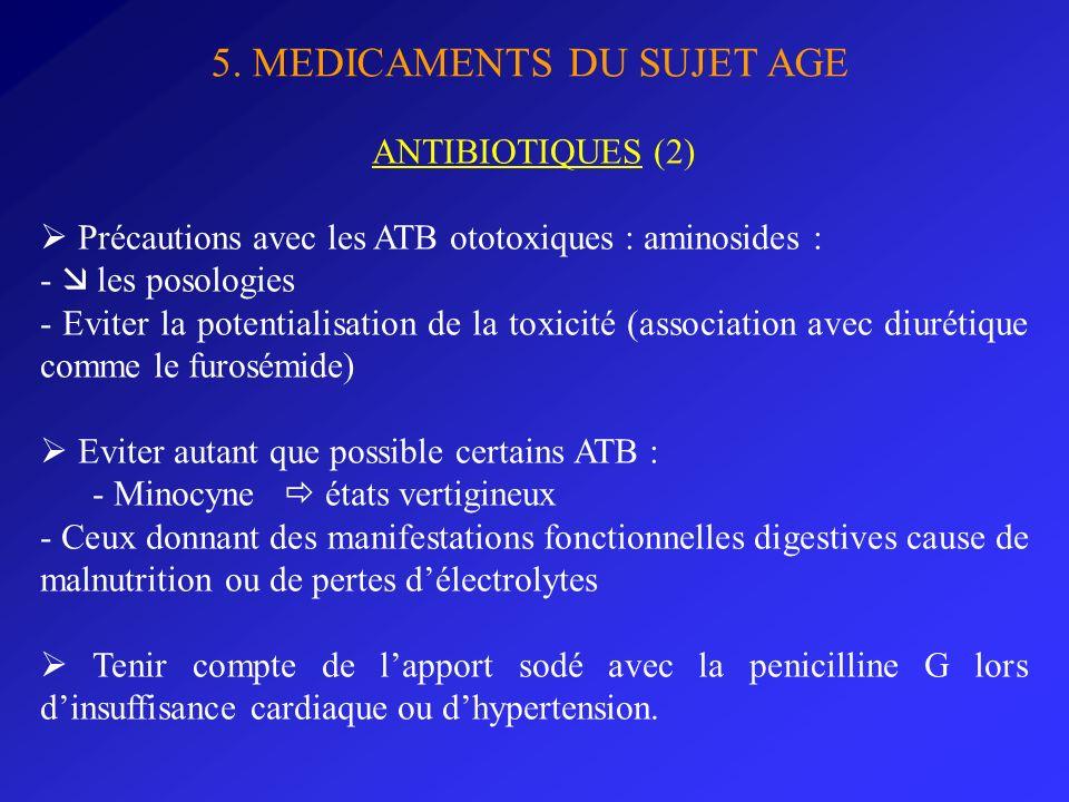 5. MEDICAMENTS DU SUJET AGE ANTIBIOTIQUES (2) Précautions avec les ATB ototoxiques : aminosides : - les posologies - Eviter la potentialisation de la