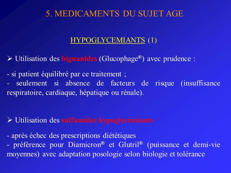 5. MEDICAMENTS DU SUJET AGE HYPOGLYCEMIANTS (1) Utilisation des biguanides (Glucophage ® ) avec prudence : - si patient équilibré par ce traitement ;