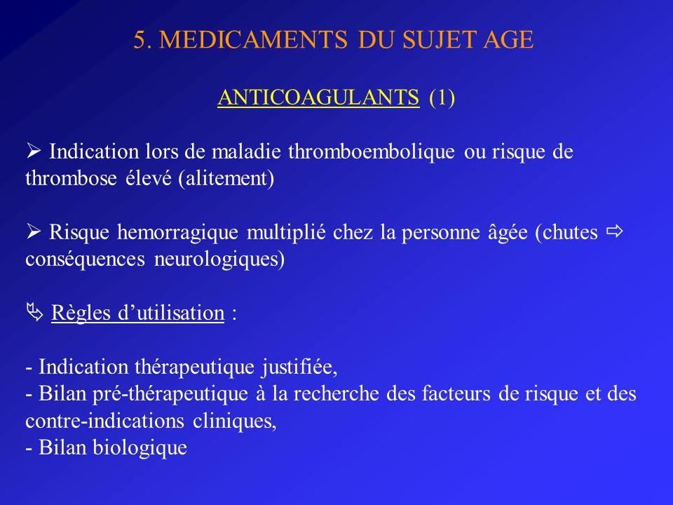 5. MEDICAMENTS DU SUJET AGE ANTICOAGULANTS (1) Indication lors de maladie thromboembolique ou risque de thrombose élevé (alitement) Risque hemorragiqu