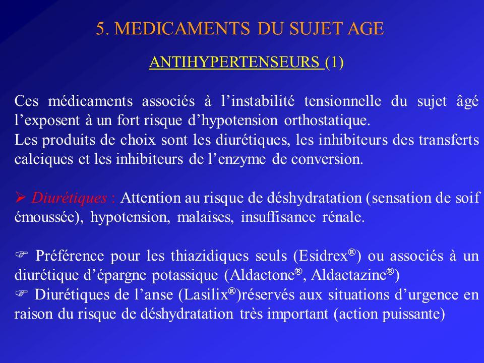 5. MEDICAMENTS DU SUJET AGE ANTIHYPERTENSEURS (1) Ces médicaments associés à linstabilité tensionnelle du sujet âgé lexposent à un fort risque dhypote