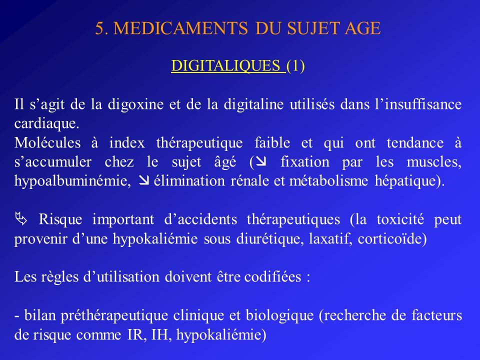 5. MEDICAMENTS DU SUJET AGE DIGITALIQUES (1) Il sagit de la digoxine et de la digitaline utilisés dans linsuffisance cardiaque. Molécules à index thér