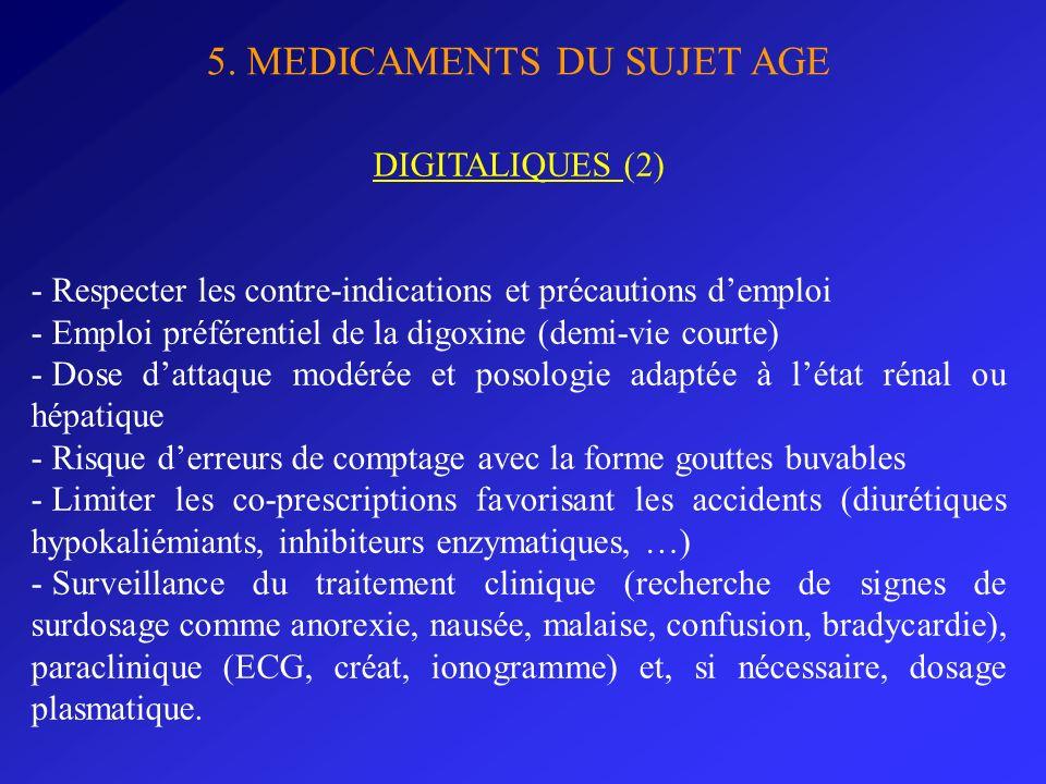 5. MEDICAMENTS DU SUJET AGE DIGITALIQUES (2) - Respecter les contre-indications et précautions demploi - Emploi préférentiel de la digoxine (demi-vie