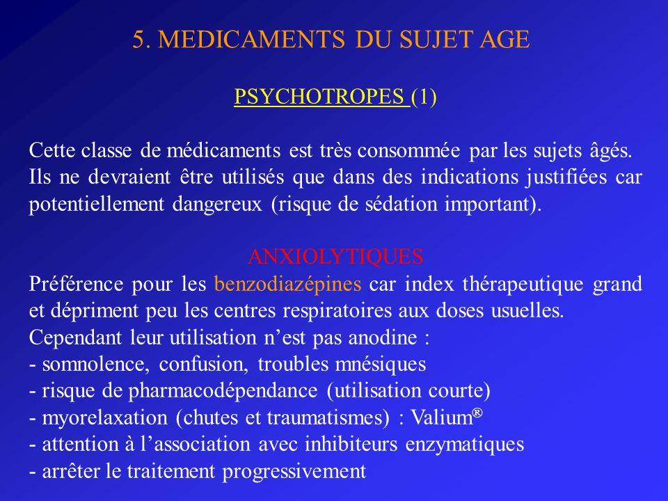 5. MEDICAMENTS DU SUJET AGE PSYCHOTROPES (1) Cette classe de médicaments est très consommée par les sujets âgés. Ils ne devraient être utilisés que da
