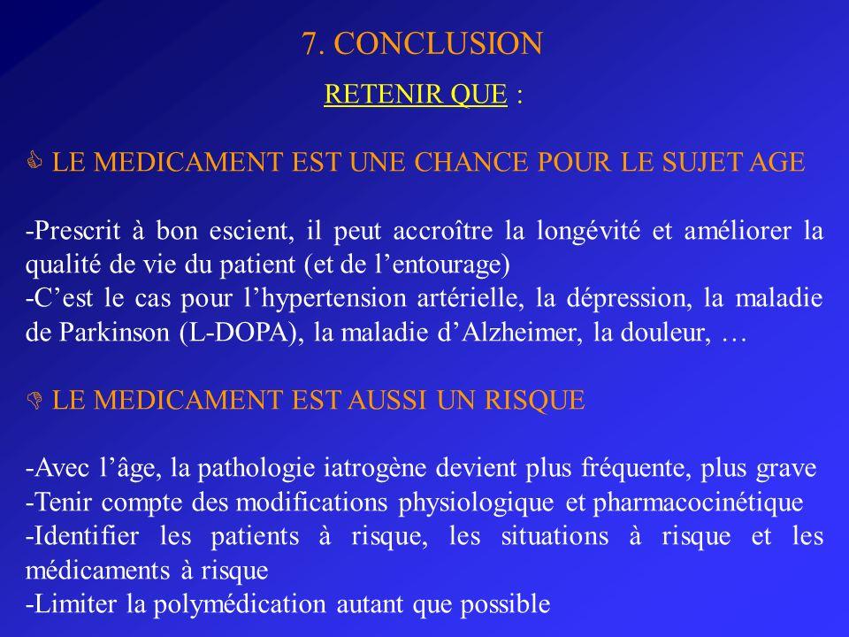 7. CONCLUSION RETENIR QUE : LE MEDICAMENT EST UNE CHANCE POUR LE SUJET AGE -Prescrit à bon escient, il peut accroître la longévité et améliorer la qua