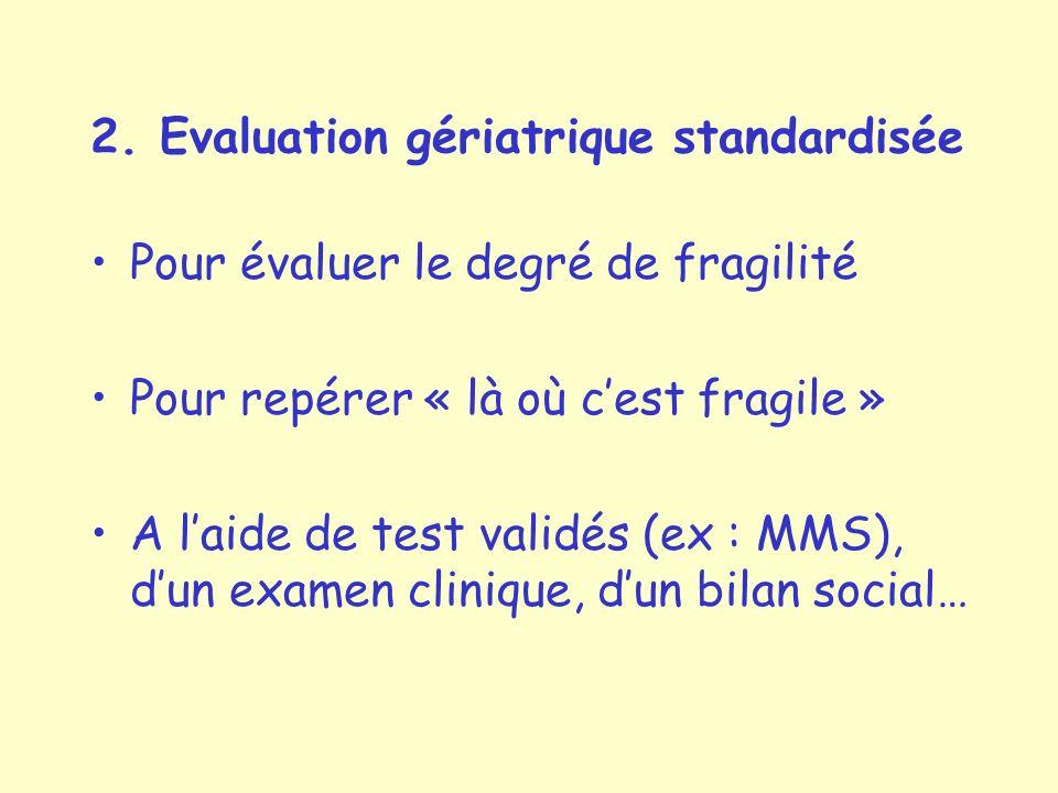 2. Evaluation gériatrique standardisée Pour évaluer le degré de fragilité Pour repérer « là où cest fragile » A laide de test validés (ex : MMS), dun