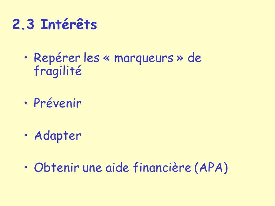 2.3 Intérêts Repérer les « marqueurs » de fragilité Prévenir Adapter Obtenir une aide financière (APA)