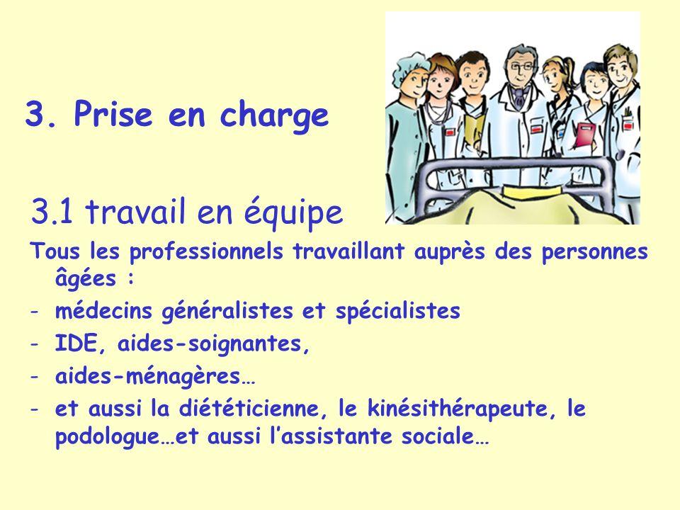 3. Prise en charge 3.1 travail en équipe Tous les professionnels travaillant auprès des personnes âgées : -médecins généralistes et spécialistes -IDE,